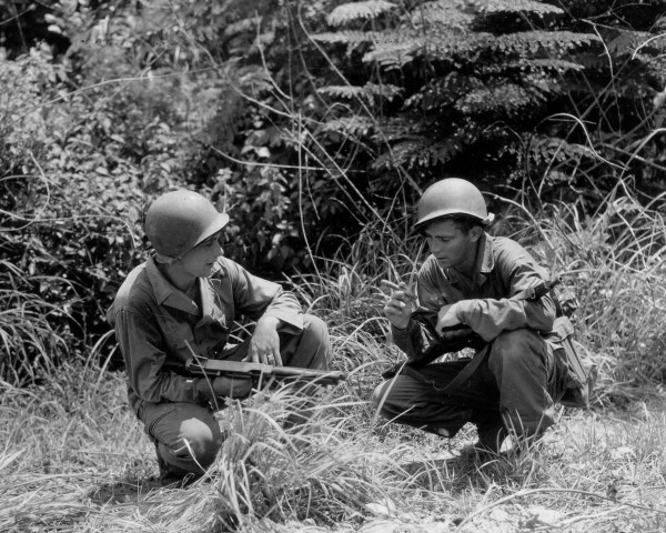 40th inf div thompson submachine gunner m1 carbine two of the four boys from hell  185th Inf Regt Panay Philippines Campaign 072745 (1 of 1)