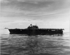 USS Hornet at sea shortly after the Doolittle Raid in the spring of 1942.