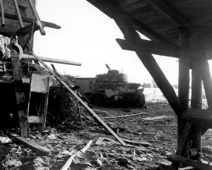 One of the Panzer IV's knocked out by the anti-armor teams of the 1st Infantry Division.