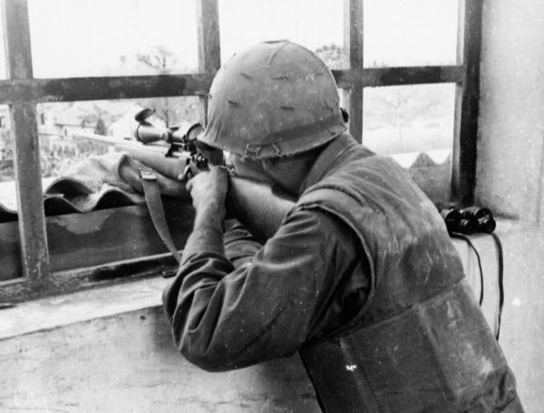 Vietnam Series 1st Marine Div Sniper in Hue City Vietnam 020568 (1 of 1)