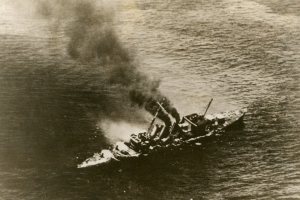 HMS Cornwall sinking after being dive bombed by Japanese carrier aircraft during the Indian Ocean Raid in the spring of 1942.