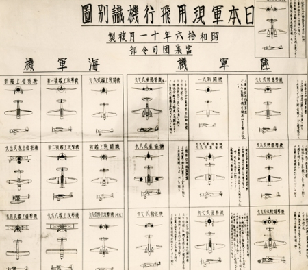 Japanese aircraft recognition chart captured on Attu