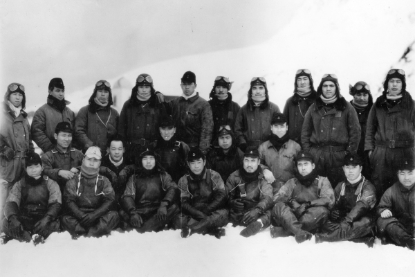 The pilots of a Japanese float plane squadron based on Attu. The photo was part of the intel trove captured on the island.