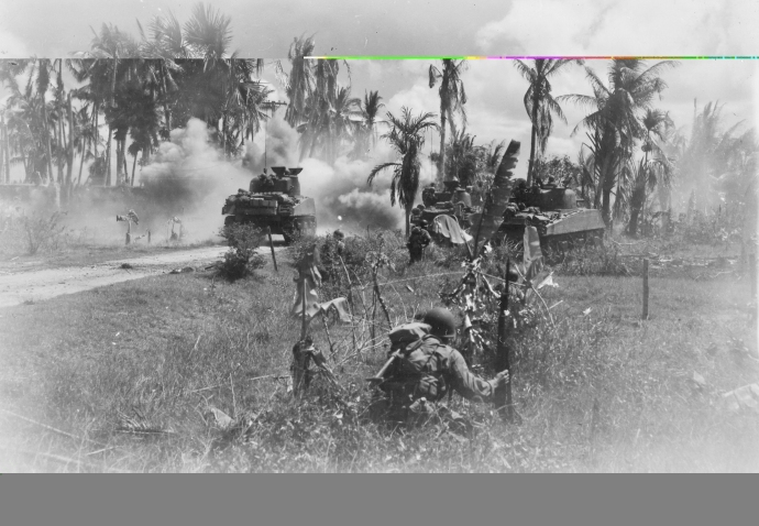 40th inf div 185th inf regt m4 sherman and troops panay island philippines  031845  (1 of 1)