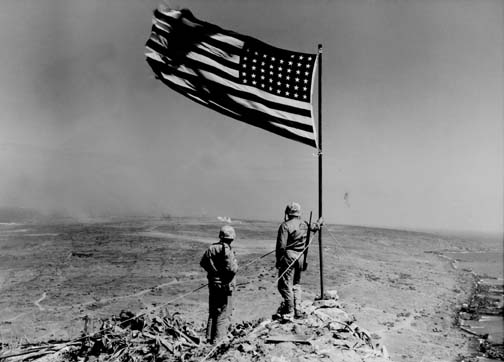 marines and flag at iwo not famous shot ii768