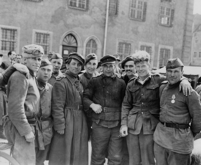 Russian Series WWII  Russian Soldiers with Liberated British and Australian Paratroopers After Link Up with 9th Army Wittenberg germany 043045  (1 of 1)