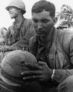 Vietnam Series 1st Marine Div 1st Battalion 1st Marines PFC with Sniper Hole In Helmet Hue City 020168  (1 of 1)
