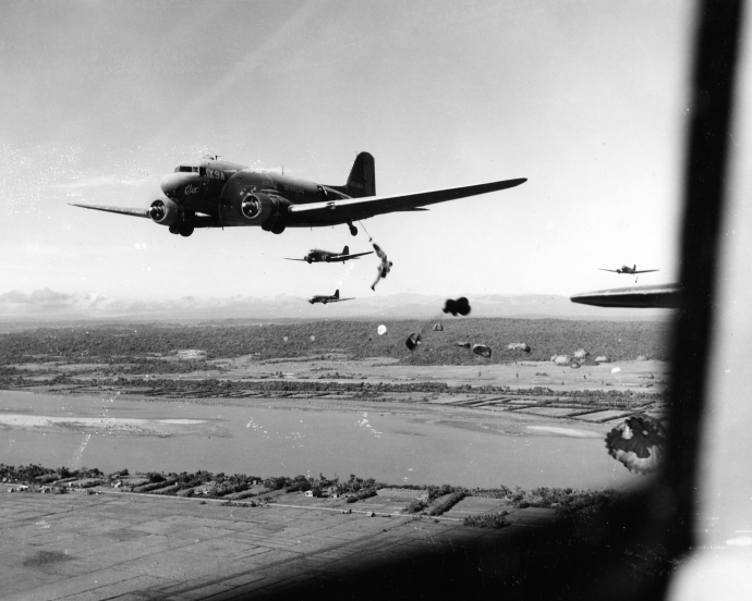 11th airborne paradrop june 45 Luzon 8x10