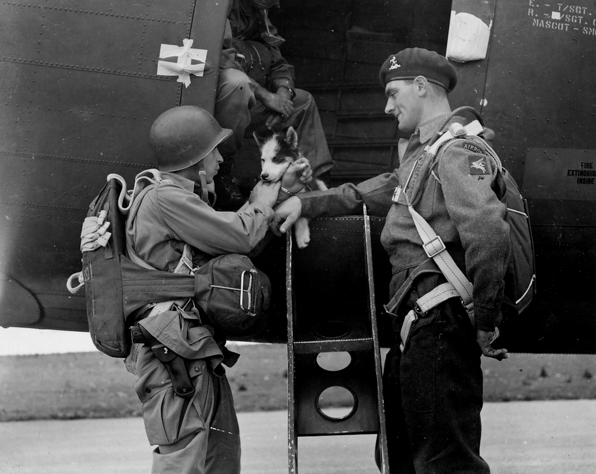 British Series WWII British Paratrooper with US Airborne Officer and Dog Mascot DDay Drop 060544 (1 of 1)