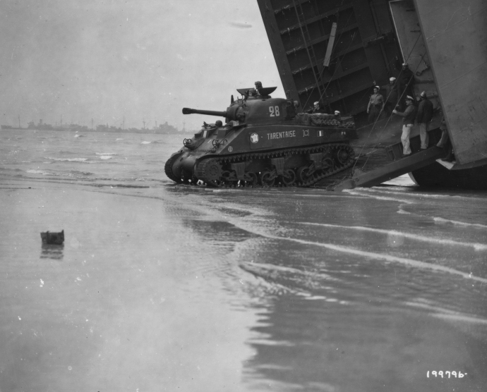 Another shot of the division's M4 Shermans coming ashore  at Utah.