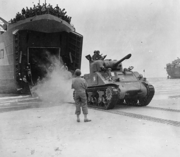 The 2nd Free French Armored Division comes ashore at Utah Beach.