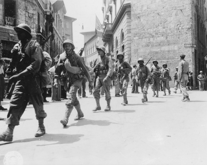 Free French Moroccan infantry in Siena, Italy on July 3, 1944.