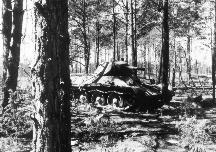 German Series WWII Barbarossa East Front  Russian T34 Wreck East of Njemen River Lithuania 062541 (1 of 1)