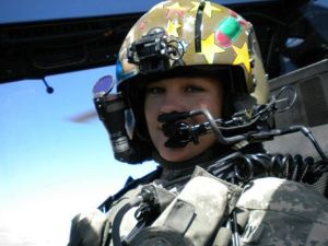 Cass in her Apache's cockpit. See Part I of Gwenie's story for how we met in Afghanistan, and how Cass and her fellow pilot, CW5 Reagan, saved a lot of lives (including my own) over Ajerestan in September 2010.