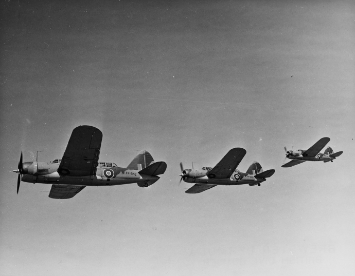 A formation of Brewster Bermuda dive bombers on a training flight. The aircraft never saw widespread service as a result of its mediocre performance.