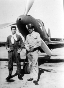 Johnson, at left, with Art Rice. They served together in the 54th Pursuit Group before the war, and ended up in the Aleutians in 1942 flying P-39's against Japanese-held Kiska Island.