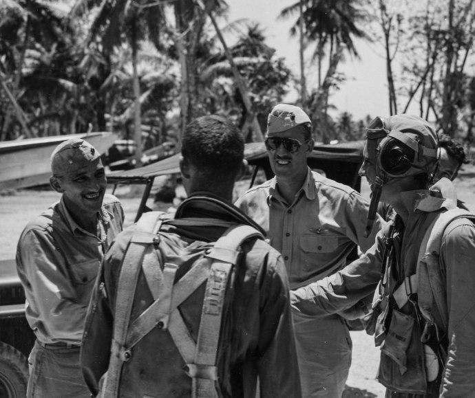 USMC Series WWII MAG-45 Pilots Mangrum Ulithi Atoll 042845-1