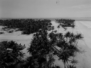 The strip at Falalop Island, Ulithi Atoll, home to Marine Air Group-45. This photo was taken at the end of April 1945. In the photo can be seen several F6F-5N night fighters, a line of TBM Avengers, a few SBD Dauntless dive bombers, an SB2C Helldiver, and an unusual array of Culver TD2C Turkey target drones (at right)