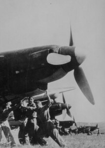 A Romanian Ju-87 squadron prepares for a mission on the Eastern Front in November 1943.