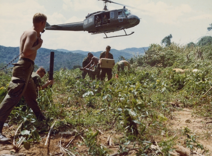1st Cav Div 1st Bn 7th Cav Regt UH-1 Huey Delivers Supplies Operation Pershing 50 KM NE A Khe Binh Dinh Province Vietnam 052767 (1 of 1)