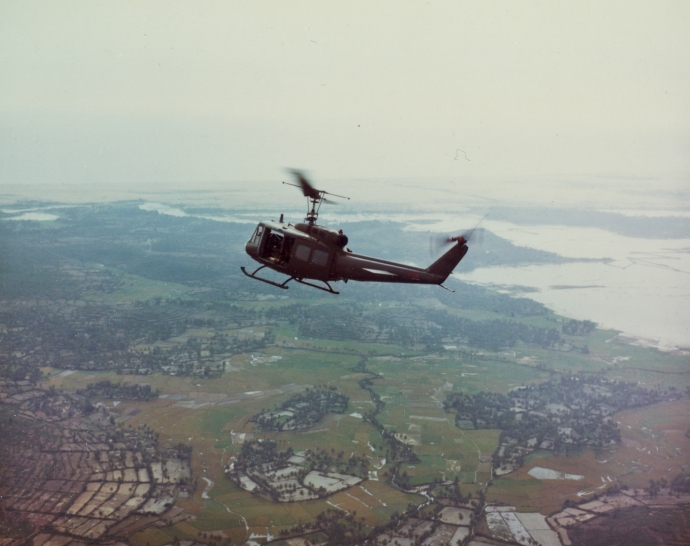 A Huey UH-1 Iroquois from the 35th Infantry Regiment over Phu Cat, Vietnam on April 11, 1967.