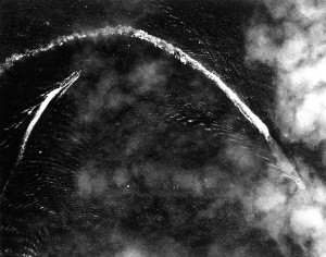 The Japanese fleet carrier Akagi under attack by Midway-based B-17 Flying Fortress bombers during the morning of June 4, 1942.