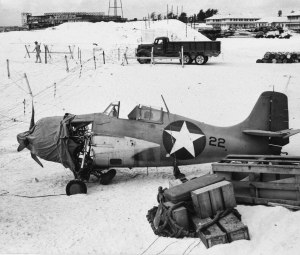 One of the surviving F4F-3 Wildcats at Midway, seen after the battle.