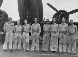 Survivors of VMF-221 and the other Marine air units, seen at Midway at the end of June. At far left is Marion Carl, who later became the first Marine Corps Ace while flying from Guadalcanal.
