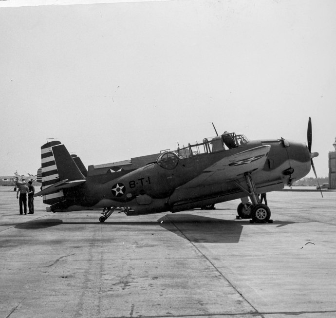 VT-8 received the first operational Grumman TBF-1 Avengers to reach the Fleet. Here is Harry's aircraft, 8-T-1 at NAS Norfolk at the end of March 1942, just before the squadron was deployed to the Pacific.