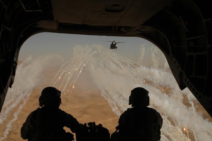 Flares over Helmand Province, Afghanistan. November 2010.
