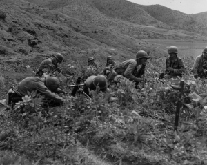 A 60mm mortar platoon engaged along the Naktong, September 3, 1950.