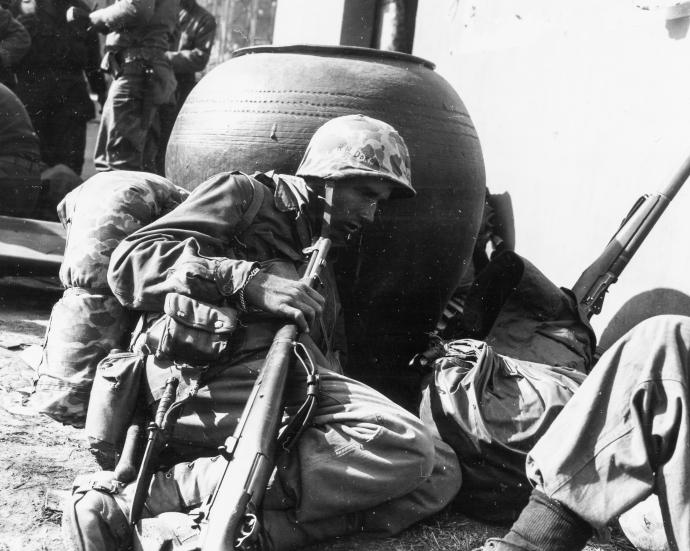 A 2/7 Corpsman at an aid station, November 3, 1950.
