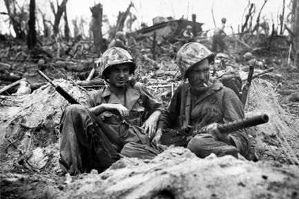 Two Marines at Peleliu 4x6