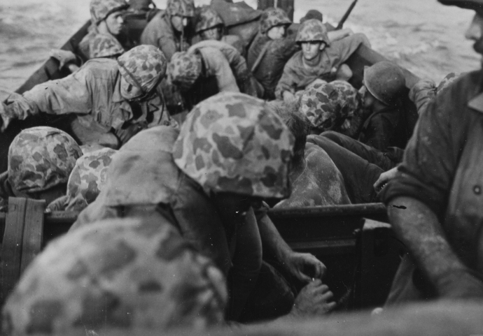 USMC Series WWII 1st Marine Div LVT Buffalo Load of Marines HEading for peleliu beach 09--44 (1 of 1)