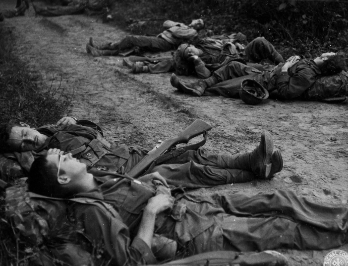 147th Inf regt Soldiers Exhausted on March in Burma CBI 120444 (1 of 1)