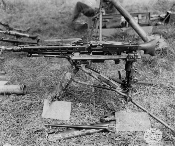 1st Army Captured German Equipment Series MG42 on tripon German heavy machine gun st clair france normandy campaign 062344 (1 of 1)