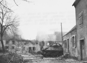 35th Inf Div XII Corps 3rd Army M36 Jackson TD in burning town Habkirchen Germany 121545 (1 of 1)