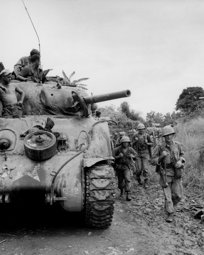 37th Inf Div M-4 Sherman and GI's Drive on Manila Luzon Philippines Campaign 01--45 no cap-1