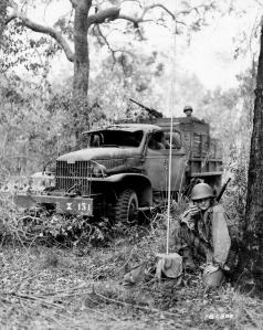 41st Inf Div 218th FA Bn FO with radio and truck during exercise Rockhampton Australia 112642 (1 of 1)