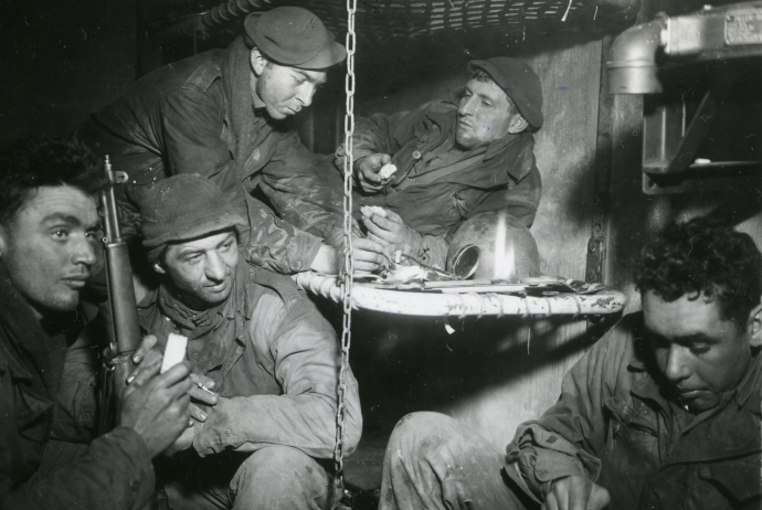 4th inf div in bunker near prum germ feb 45 4x6