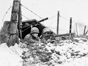 82nd Airborne Div 325th Glider Regt M1919 Browning 30 cal LMG team Odrimont Belgium Bulge 010645 (1 of 1)