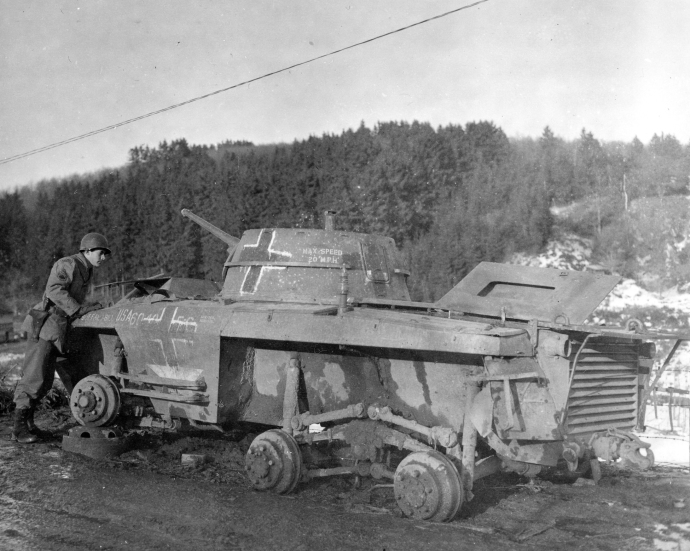 German Employed Captured M8 Greyhound Armored Car Knocked Out at St Vith Belgium Bulge Seen 020345 (1 of 1)