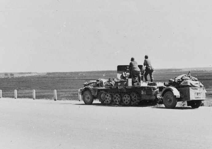 German Series WWII East Front Barbarossa German Halftrack and 20mm anti aircraft gun in action Beresina Russia 070341 (1 of 1)
