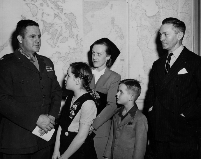 David Shoup receives the Medal of Honor at the Navy Department in Washington D.C. on January 22, 1945.