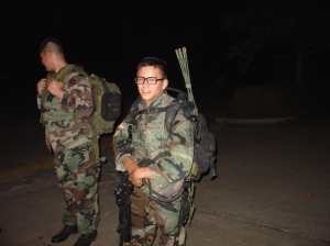 Stiney on a night patrol, carrying the platoon's commo gear.