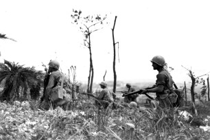 381st-Infantry-advances-cautiously-toward-Big-Apple-Ridge-June-45